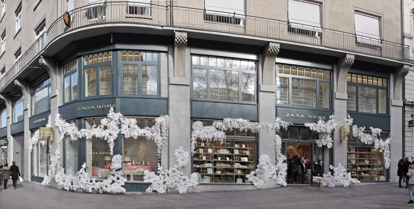 first zara home in zrich we were inspired by their latest coral reef collection and covered the entire facade of the store with an underwater dream